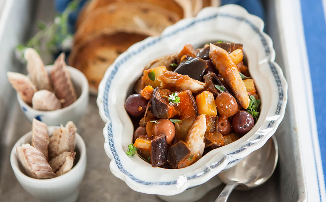 Eggplant and Mackerel Caponata with Croutons