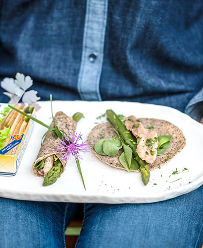 Buckwheat Crepes with Asparagus and Sardines
