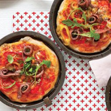 Tomato Pizzas with Peppers Anchovies and Capers | Delicius
