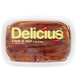 Filetti di Alici in Olio di Oliva con Peperoncino 60g Linea Classica | Delicius