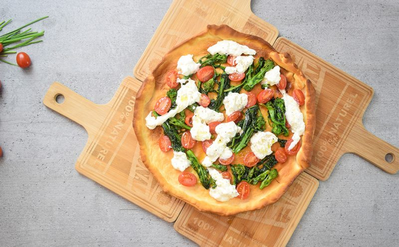 """Focaccia with Turnip Greens, Burrata Cheese and Delicius Anchovy Paste """"Rich Taste"""""""