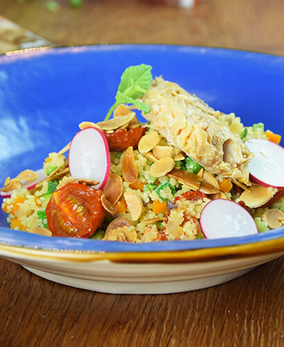 Cous Cous with Mediterranean Style Mackerel Fillets