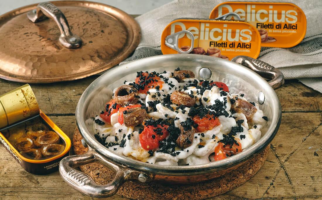 Orecchiette with Burrata, Anchovies and Black Bread Crumble