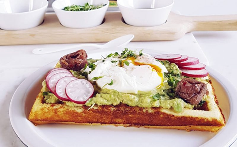 Avocado Waffles with Anchovy Sauce