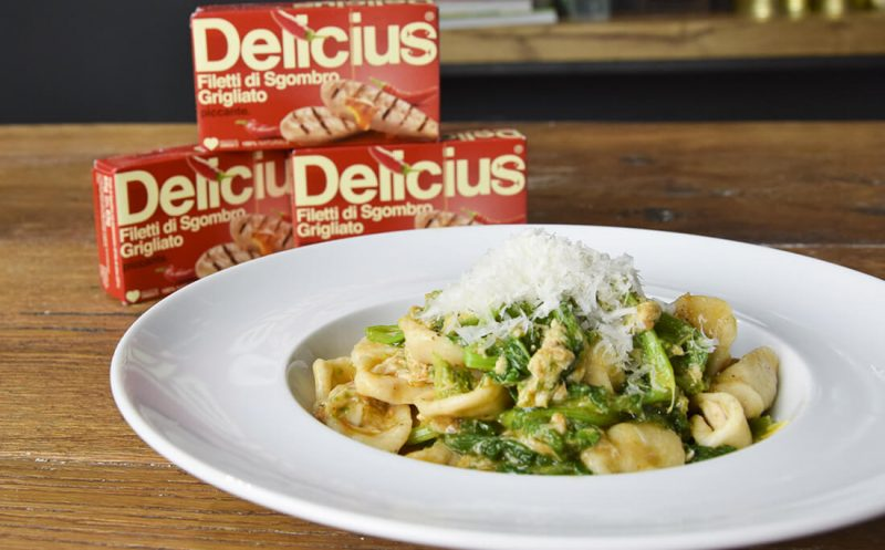 Grano Arso Orecchiette with Turnip Greens and Spicy Mackerel