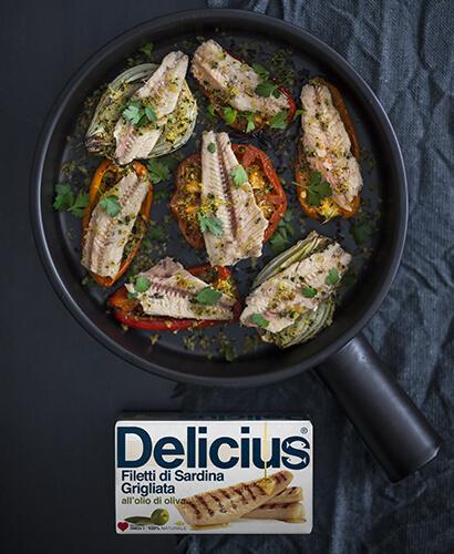 Padellata di verdure con Sardine grigliate