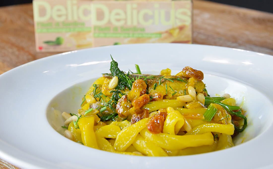Pici Pasta with Sardines, Saffron, Raisins and Fennel Herbs