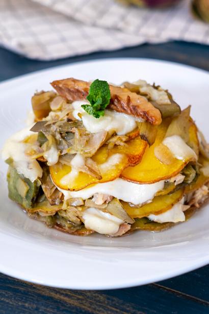 Sformato di sgombro con patate e carciofi