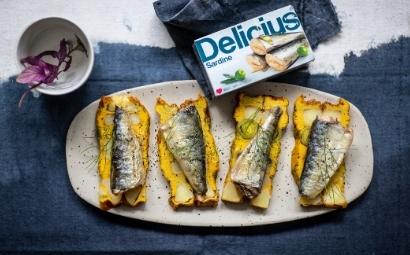 Tortilla di patate con porri e sardine