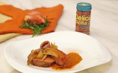 Filetto di manzo con salsa allo scalogno e Alici Delicius del Canale di Sicilia